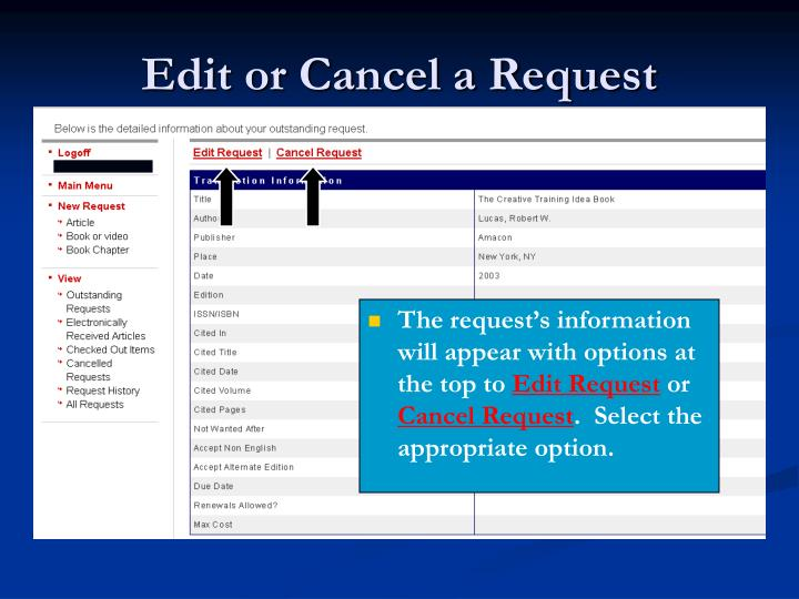 Edit or Cancel a Request