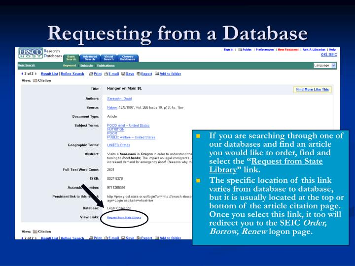 Requesting from a Database