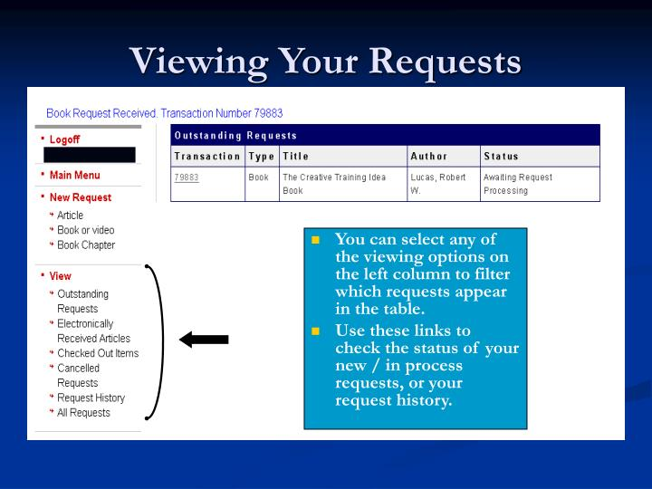 Viewing Your Requests