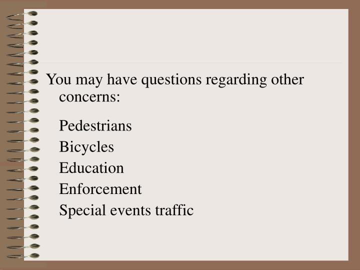 You may have questions regarding other concerns: