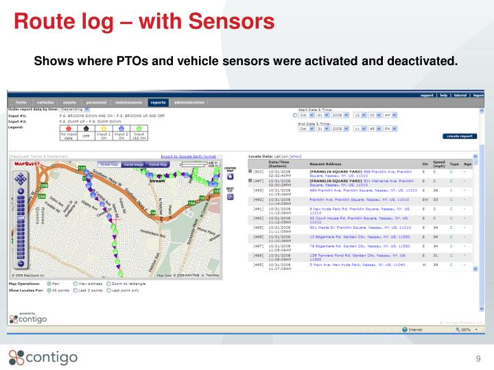 Route log – with Sensors