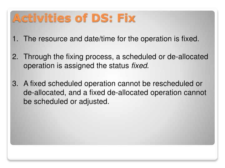 The resource and date/time for the operation is fixed.
