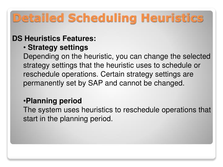 DS Heuristics Features: