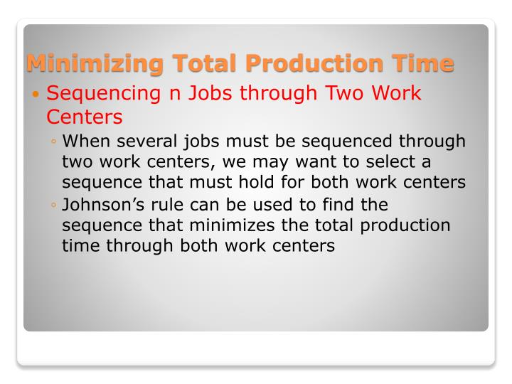 Sequencing n Jobs through Two Work Centers