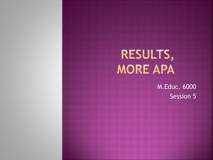 Results more apa