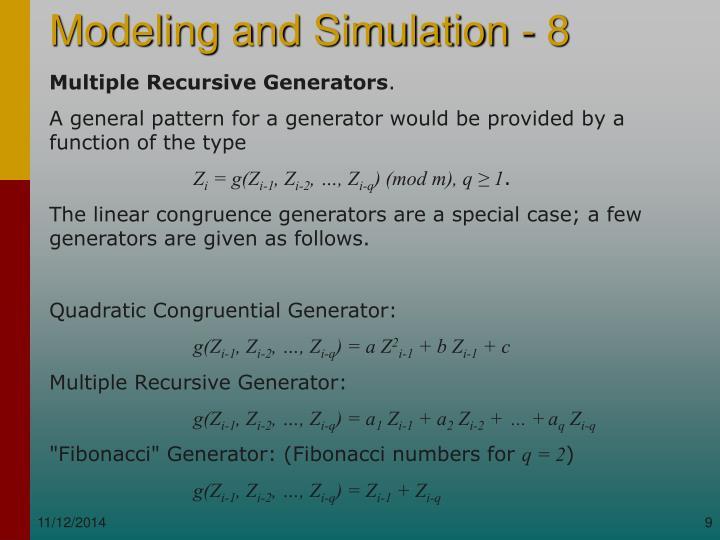 Multiple Recursive Generators