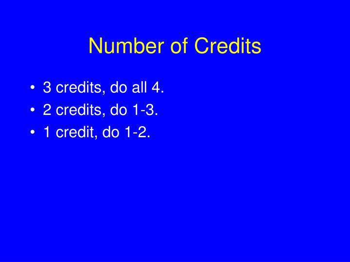 Number of Credits