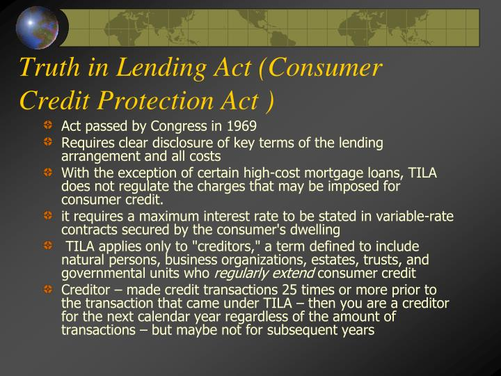 Truth in Lending Act (Consumer Credit Protection Act )