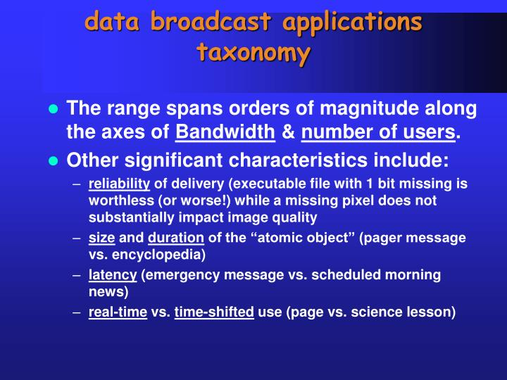 data broadcast applications taxonomy