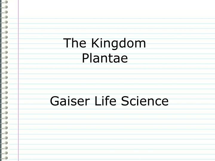 the kingdom plantae n.