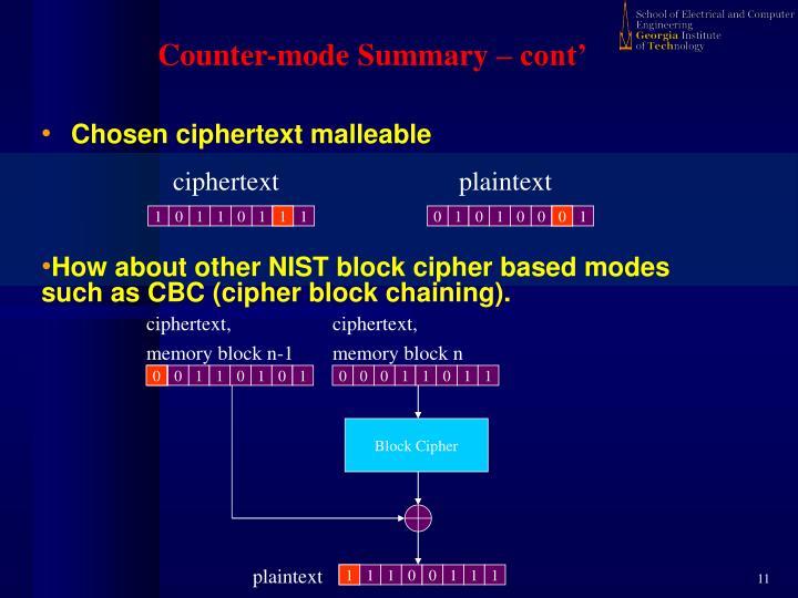 Counter-mode Summary – cont'
