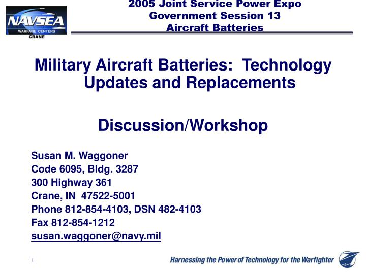 2005 joint service power expo government session 13 aircraft batteries