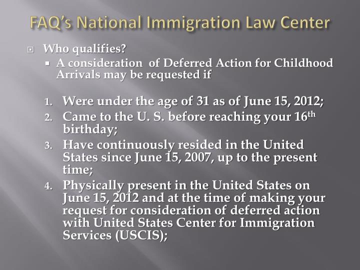 FAQ's National Immigration Law Center