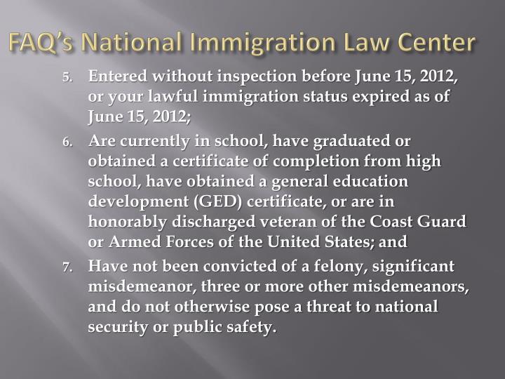 FAQ's National Immigration Law