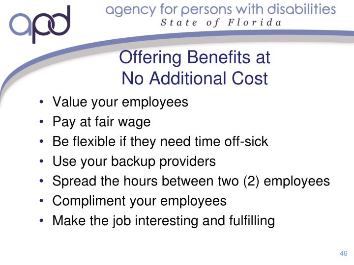 Offering Benefits at