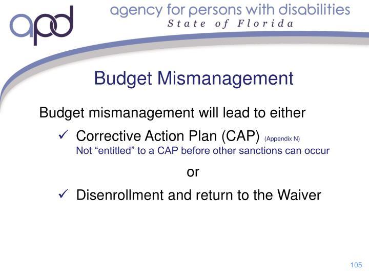 Budget Mismanagement