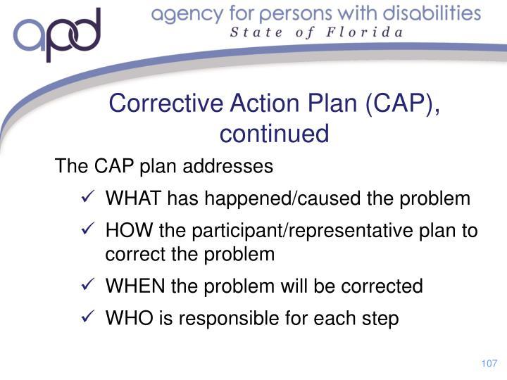 Corrective Action Plan (CAP), continued
