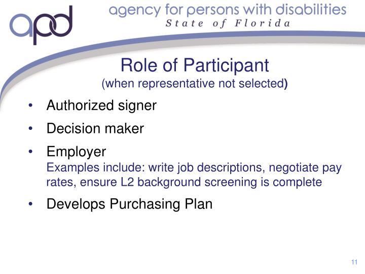 Role of Participant