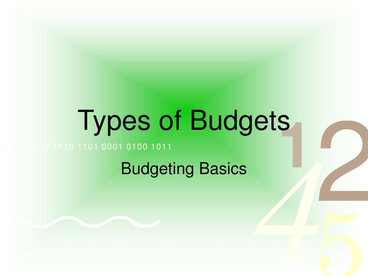 examining different types of budgets and their uses Types of budgets 1 based on a future plan of actions prepared in advance based on objectives to be attained expressed in monetary and/or physical units prepared for the implementation of policy formulated by the management 2.