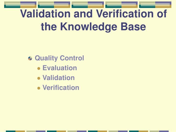 Validation and Verification of