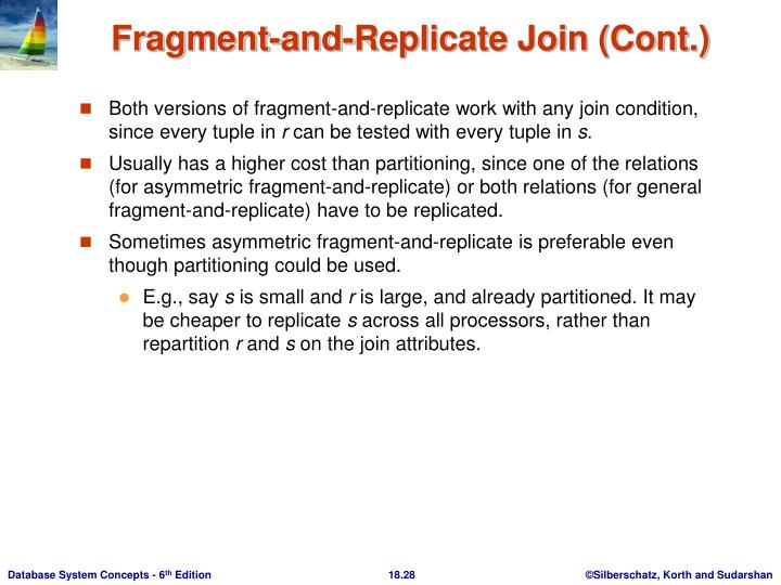 Both versions of fragment-and-replicate work with any join condition, since every tuple in