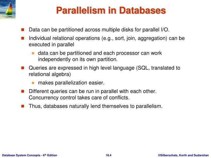 Data can be partitioned across multiple disks for parallel I/O.
