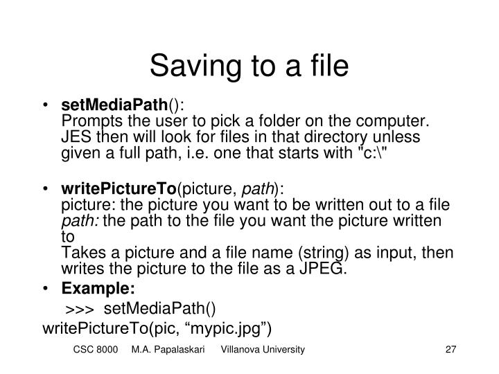 Saving to a file
