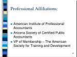 professional affiliations