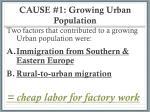 cause 1 growing urban population
