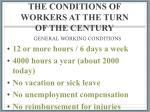 the conditions of workers at the turn of the century