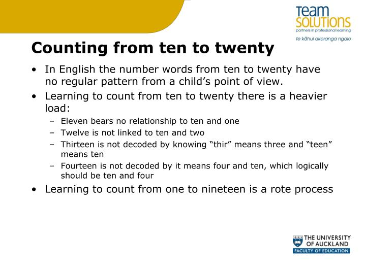 Counting from ten to twenty