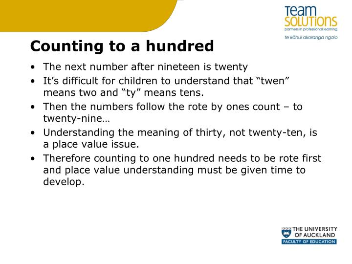 Counting to a hundred