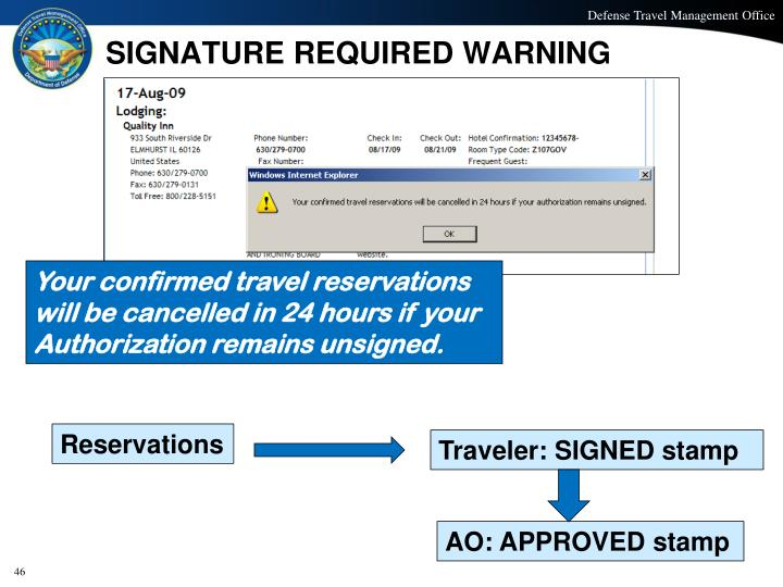 SIGNATURE REQUIRED WARNING