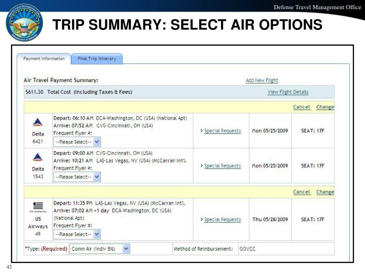 TRIP SUMMARY: SELECT AIR OPTIONS