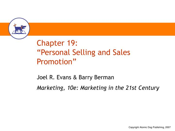chapter 19 personal selling and sales promotion n.