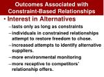 outcomes associated with constraint based relationships