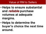 value of rm to sellers