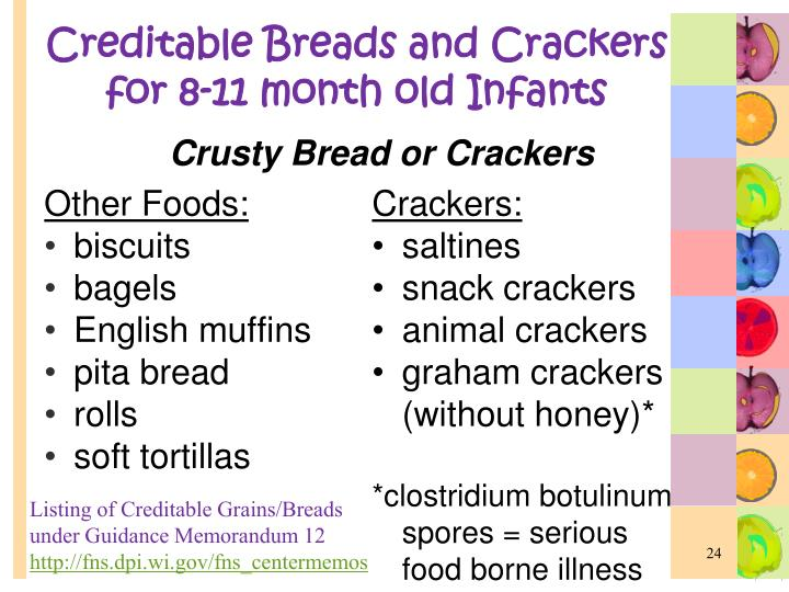 Creditable Breads and Crackers for 8-11 month old Infants