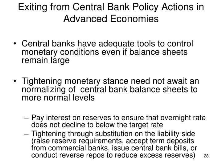 Exiting from Central Bank Policy Actions in Advanced Economies