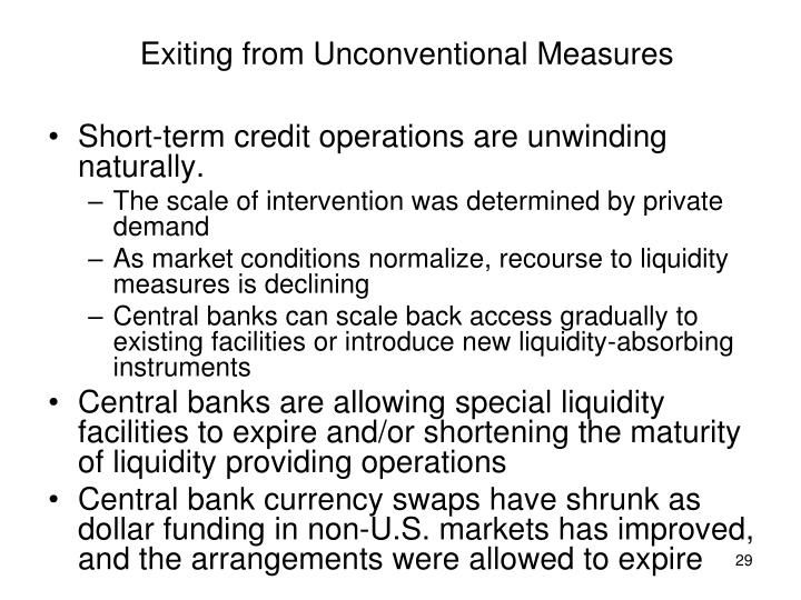 Exiting from Unconventional Measures