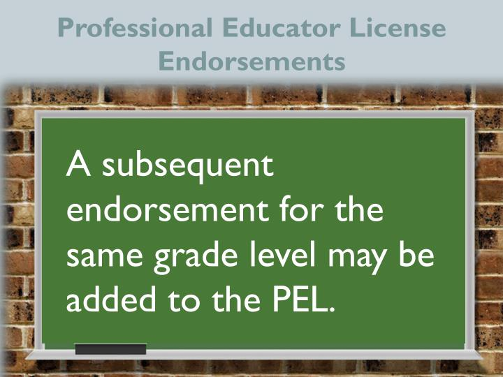 Professional Educator License Endorsements