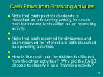 cash flows from financing activities1