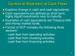 content of statement of cash flows
