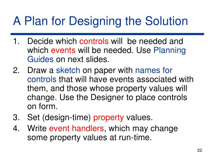 A Plan for Designing the Solution