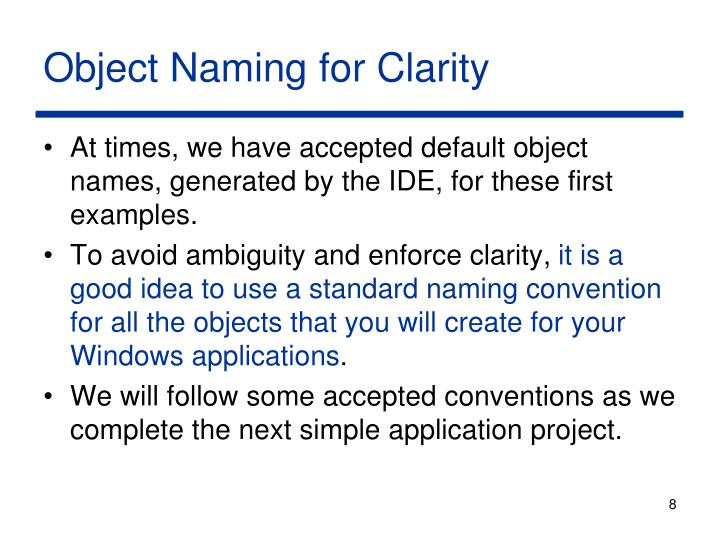 Object Naming for Clarity