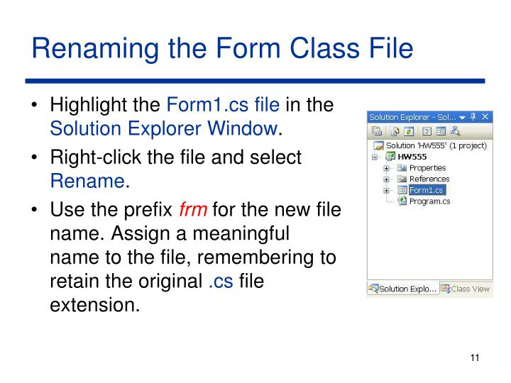 Renaming the Form Class File