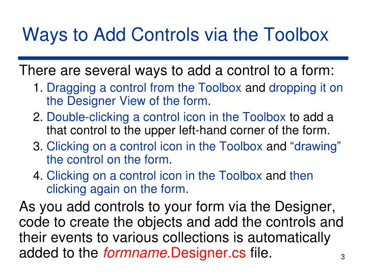 Ways to add controls via the toolbox