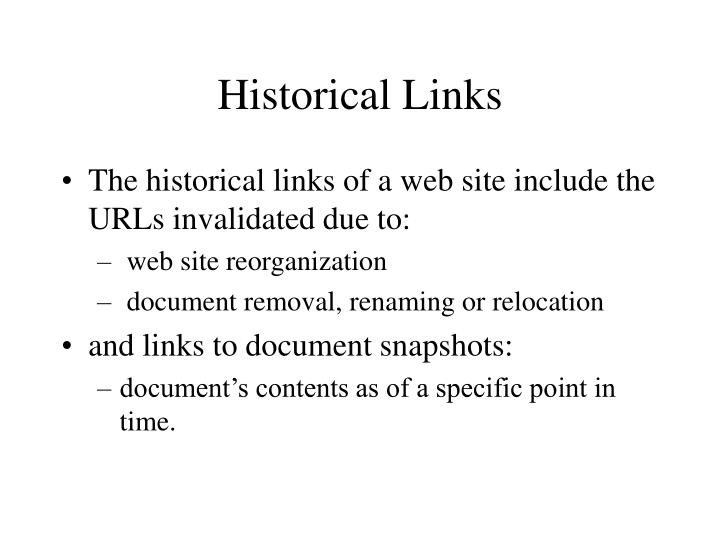 Historical links