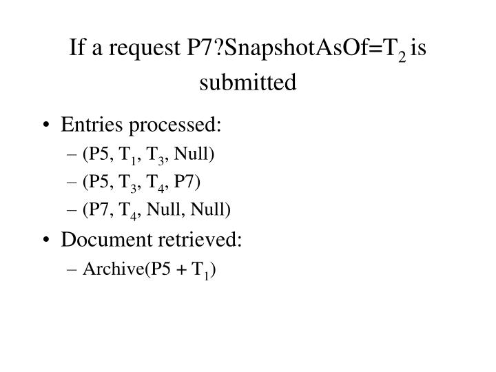 If a request P7?SnapshotAsOf=T