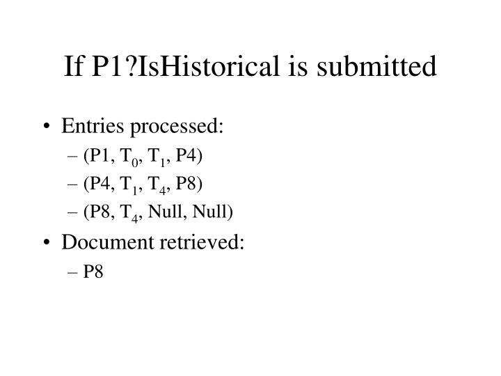 If P1?IsHistorical is submitted